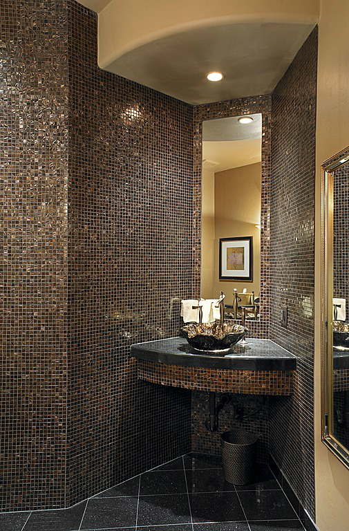 31 black and gold bathroom tiles ideas and pictures for Black tile bathroom designs