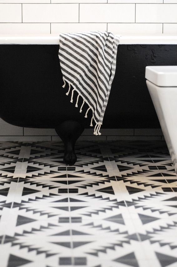 Black White Floor Tiles Bathroom With Popular Creativity Eyagci