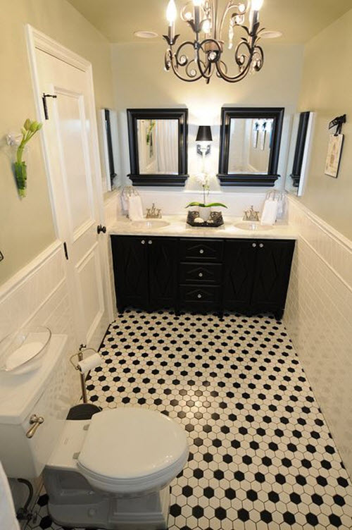 40 black and white bathroom floor tile ideas and pictures for Black and white bathroom sets