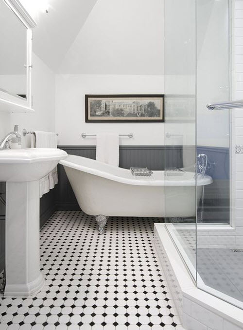 40 black and white bathroom floor tile ideas and pictures for Black tile bathroom designs