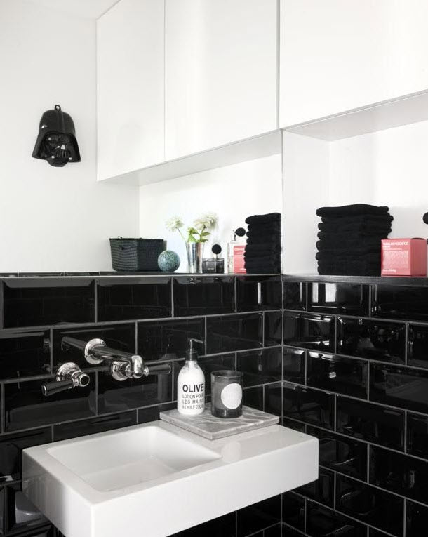 Cool Black Tile Flooring In Contemporary Master Bathroom Since Shiny Black