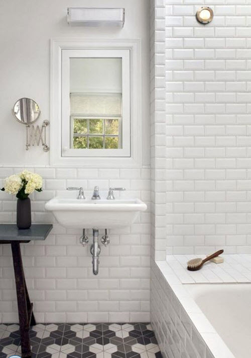 30 black and white bathroom tiles in a small bathroom for Small bathroom design black and white