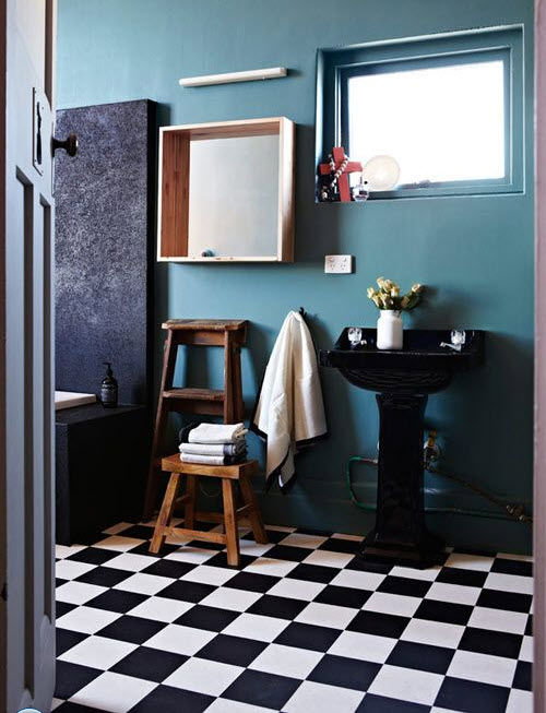 Black And White Checkered Floor In Bathroom : Black and white checkered bathroom tile ideas pictures