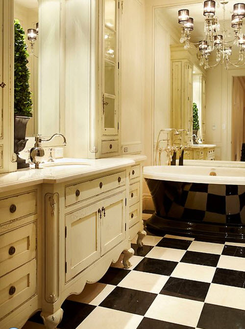 31 Black And White Checkered Bathroom Tile Ideas And