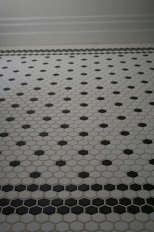37 black and white hexagon bathroom floor tile ideas and for Black and white tile floors