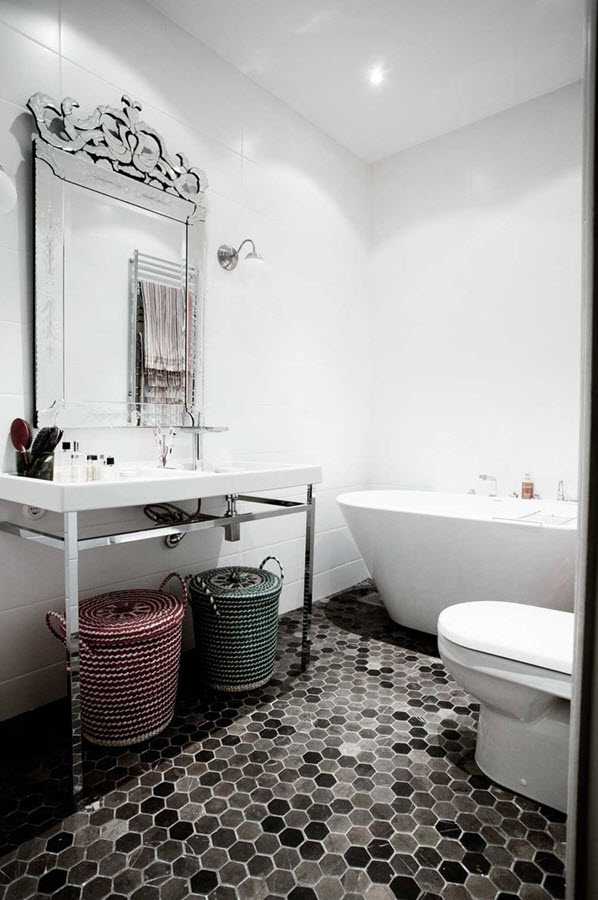 37 black and white hexagon bathroom floor tile ideas and pictures -> Banheiro Moderno Retro