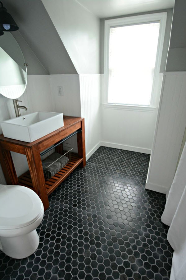 37 Black And White Hexagon Bathroom Floor Tile Ideas Pictures