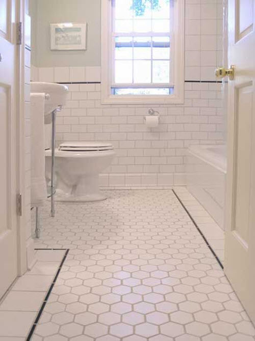 37 black and white hexagon bathroom floor tile ideas and for Designer bathroom flooring