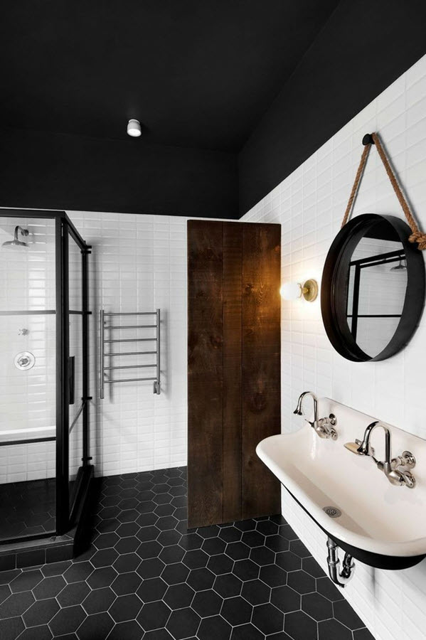 bathrooms with black and white tile floor 37 black and white hexagon bathroom floor tile ideas and 25956