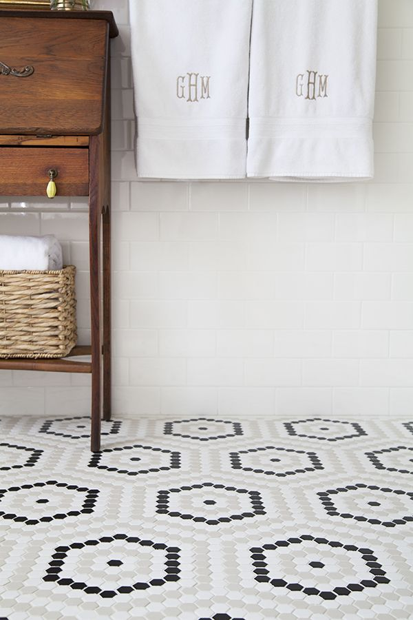 24 Black And White Hexagon Bathroom Tile Ideas And Pictures