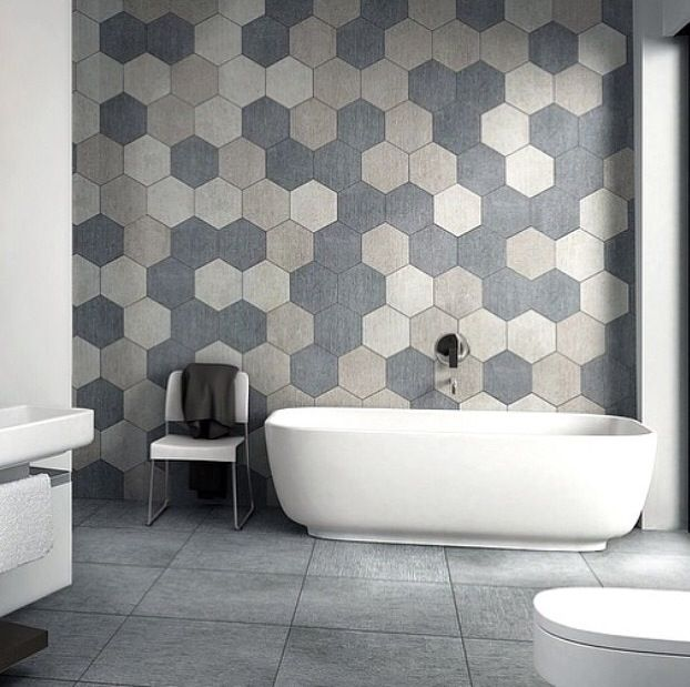Book of bathroom tiles hexagon in us by liam Marble hex tile bathroom floor
