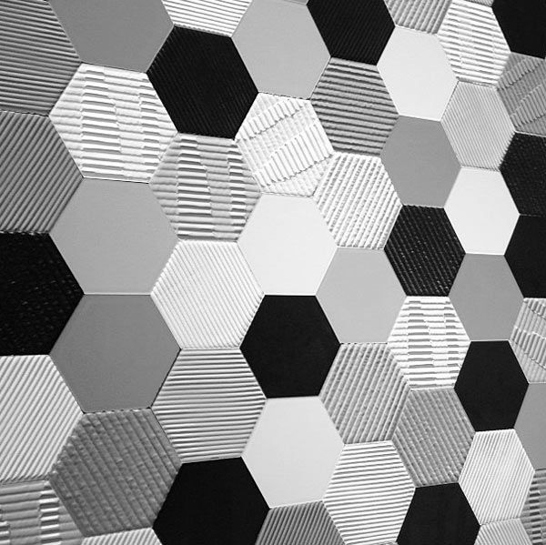Black And White Hexagon Bathroom Tile 35 3 4