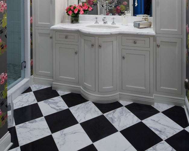 White Marble Tile Bathroom black and white marble bathroom floor tiles ideas and pictures