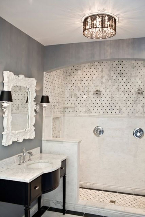 White Marble Tile Bathroom 31 black and white marble bathroom tiles ideas and pictures