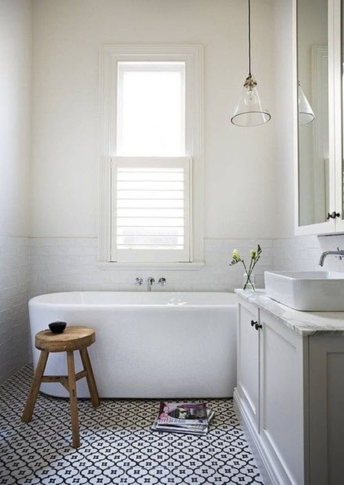 white mosaic bathroom floor tile ideas below to make up the image of