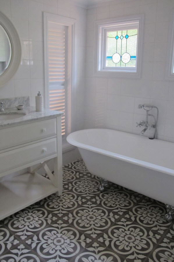 white mosaic bathroom floor tile blue bathroom wall tile beige