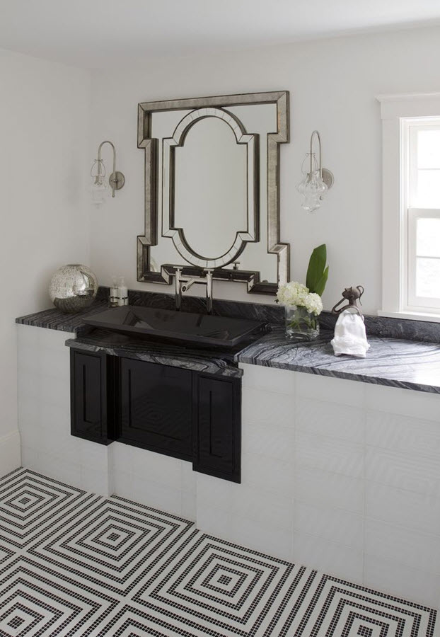 black and white mosaic bathroom floor tile ideas and pictures