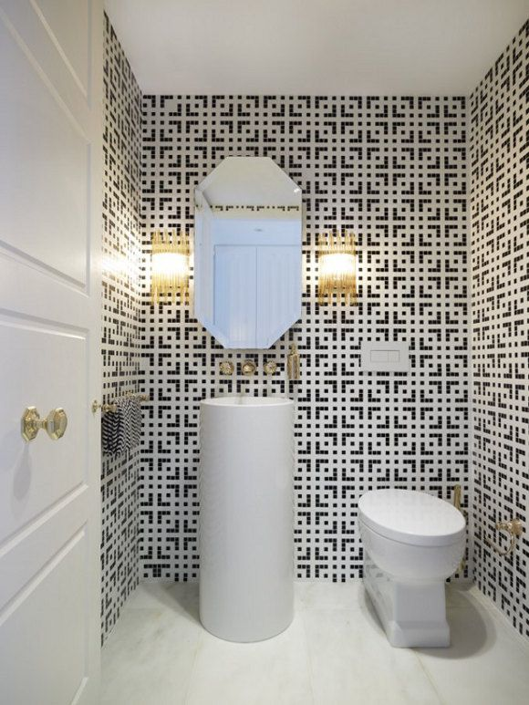 25 black and white mosaic bathroom tile ideas and pictures ...