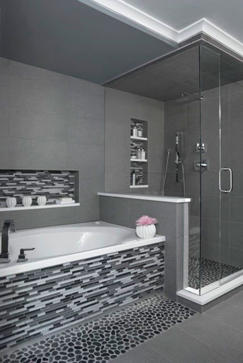 25 black and white mosaic bathroom tile ideas and pictures for Black tile bathroom designs