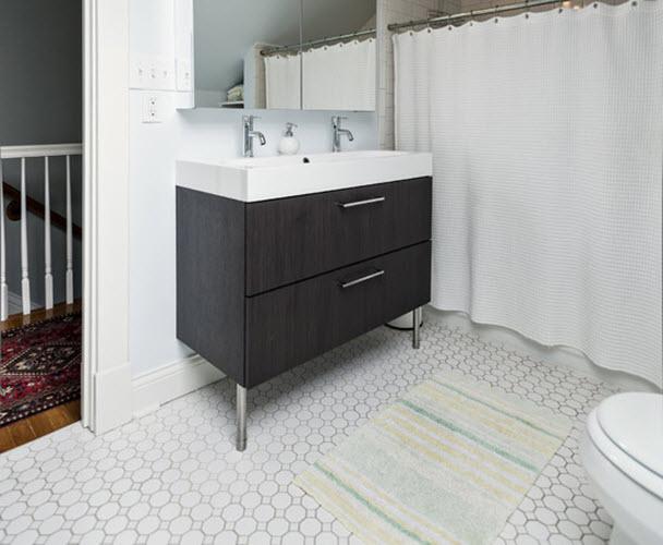 Black White Octagon Bathroom Floor Tile Zef Jam