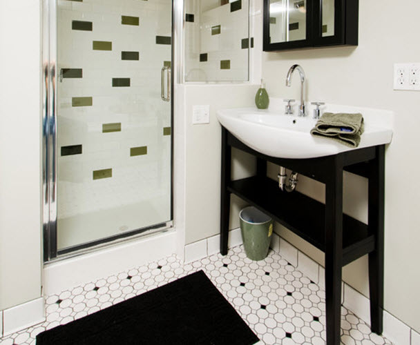 23 black and white octagon bathroom floor tile ideas and 25144