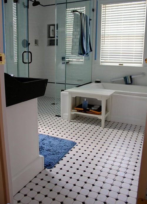 Black And White Octagon Bathroom Tile 34 1 2