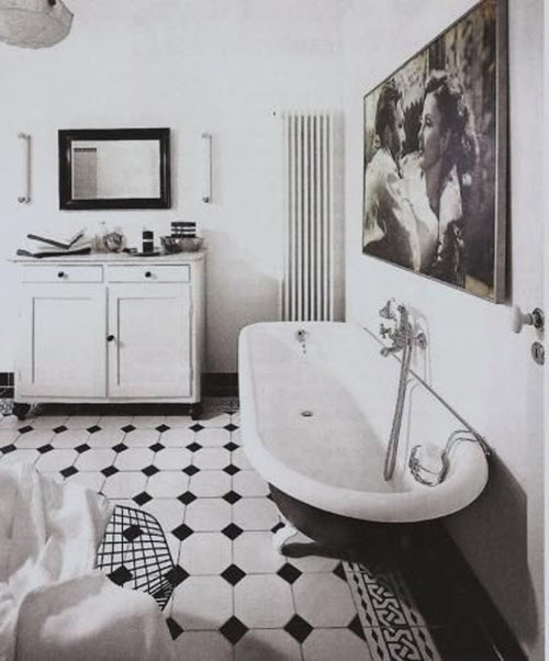 Black And White Octagon Bathroom Tile 6