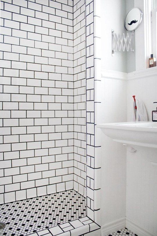 36 black and white shower tile ideas and pictures - White subway tile with black grout bathroom ...