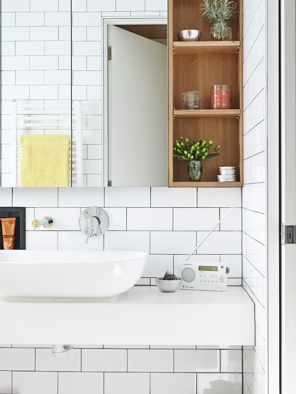 Bathroom with subway tiles