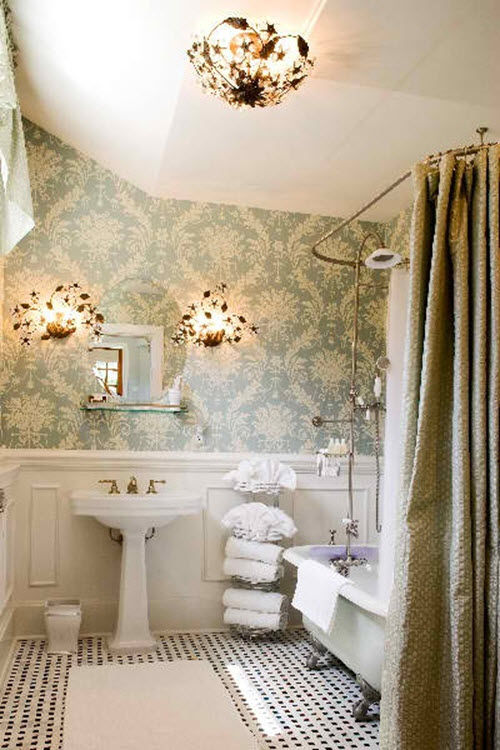 25 black and white victorian bathroom tiles ideas and pictures for Retro bathroom designs