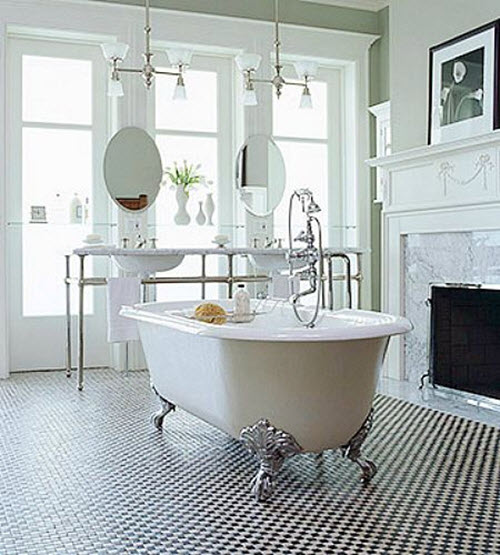 25 black and white victorian bathroom tiles ideas and pictures for Bathroom ideas victorian