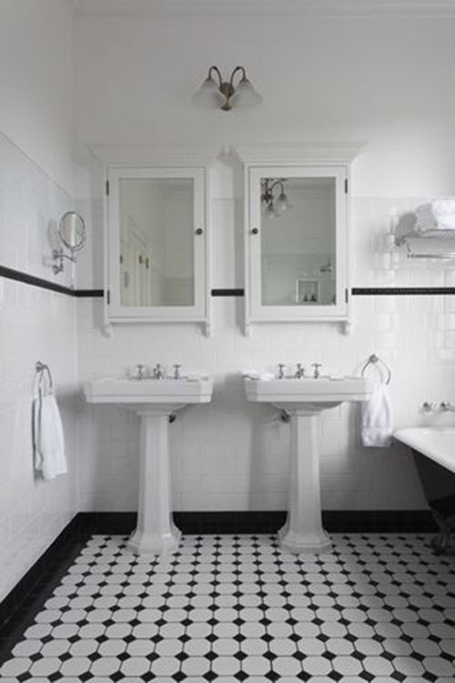 25 black and white victorian bathroom tiles ideas and pictures for Small art deco bathroom ideas