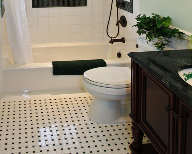 Black And White Vinyl Bathroom Floor Tiles 4 5