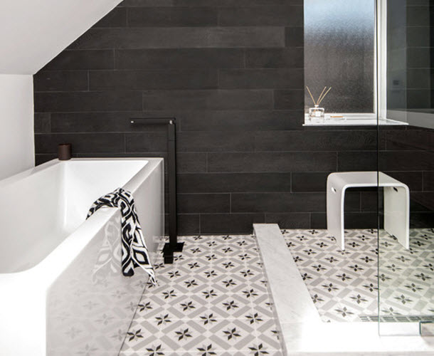 28 amazing bathroom vinyl floor tiles for Black vinyl floor tiles