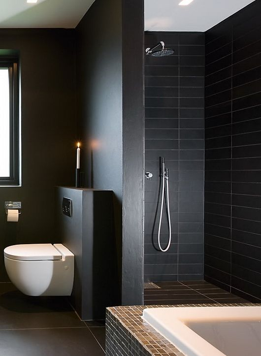 34 black bathroom tile ideas and pictures for Dark blue bathroom tiles