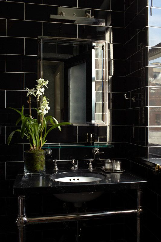 Model Black, White And Brass, This Bathroom Feels Bold, Contemporary, But With The Traditional Charm Appropriate To These Old Homes Encaustic Tiles Are A Great