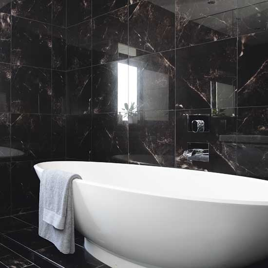 32 black bathroom wall tile ideas and pictures for Bathroom ideas black tiles