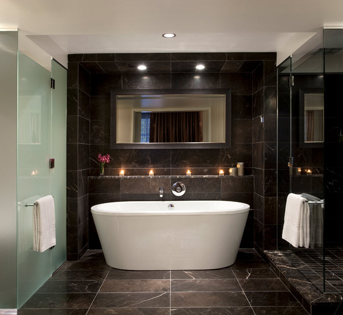 30 black marble bathroom tiles ideas and pictures for Bathroom ideas black tiles