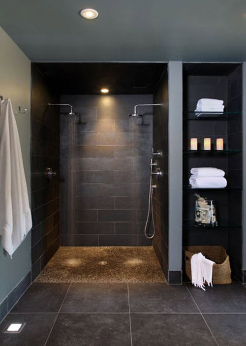 36 black shower tile ideas and pictures for Black tile bathroom designs
