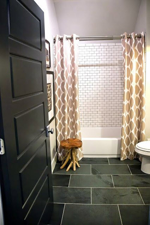 Black White Tile Bathroom Floor
