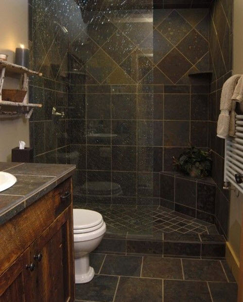 33 black slate bathroom floor tiles ideas and pictures Master bathroom tile floor