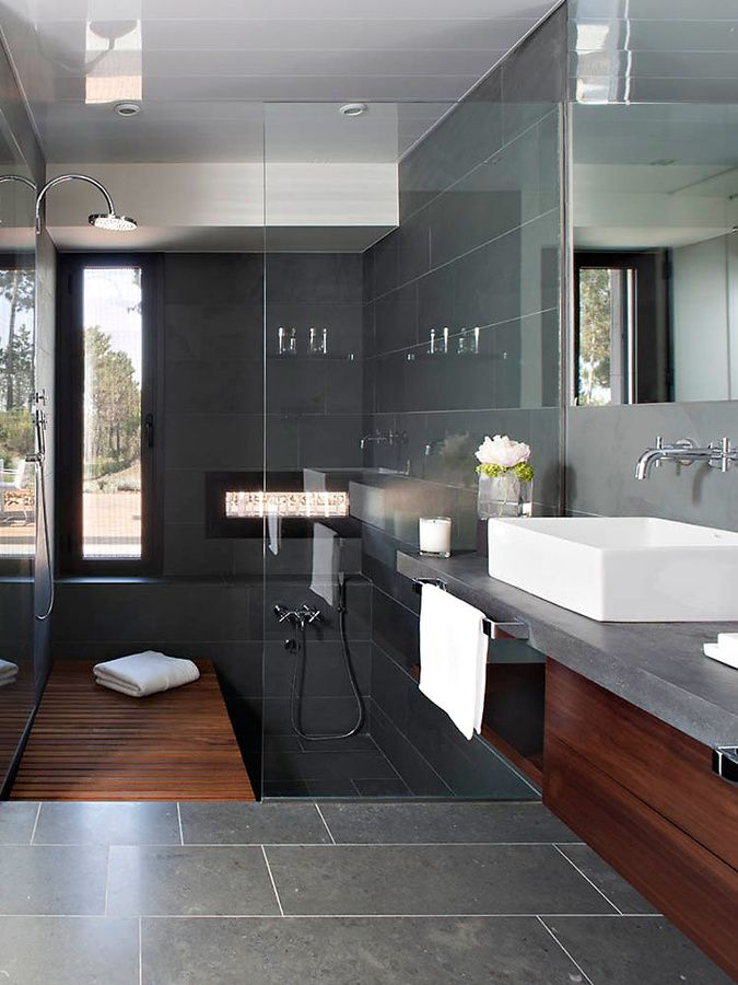 33 black slate bathroom floor tiles ideas and pictures. Black Bedroom Furniture Sets. Home Design Ideas