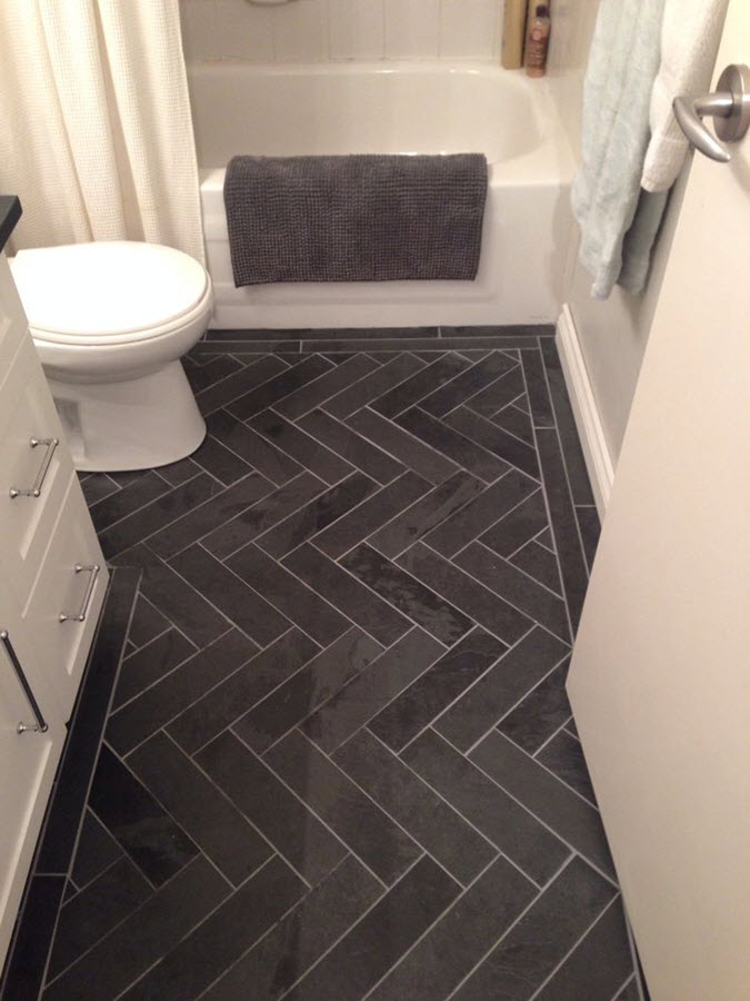 33 black slate bathroom floor tiles ideas and pictures for Black tile bathroom designs