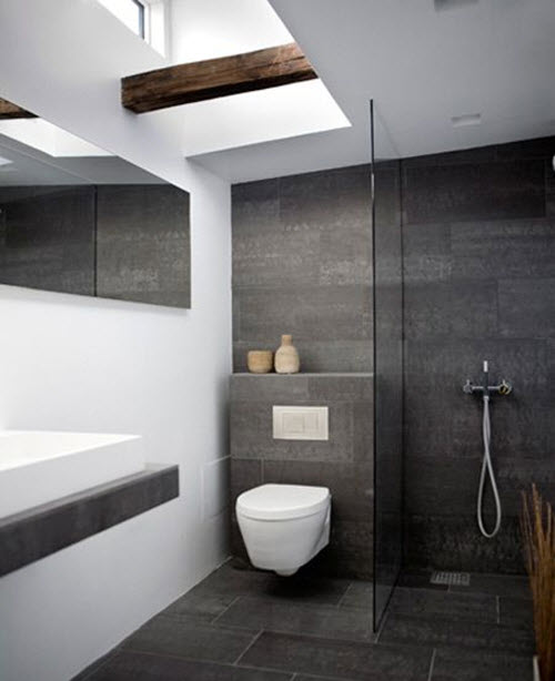black slate for the floor of your bathroom and feel happy every time