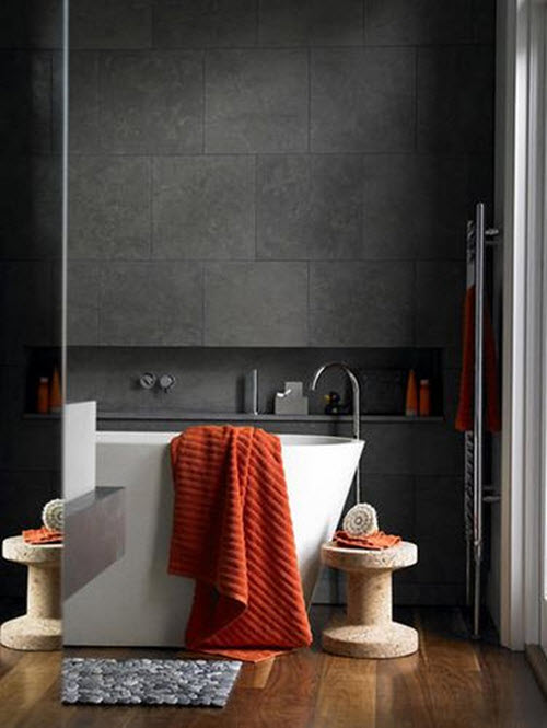 40 black slate bathroom tile ideas and pictures for Orange and grey bathroom accessories