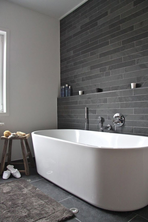 35 black slate bathroom wall tiles ideas and pictures for Slate tile bathroom ideas