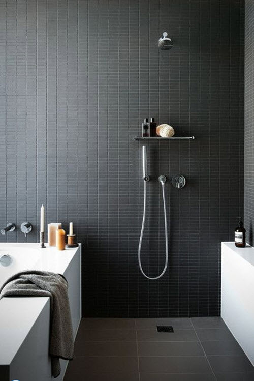 35 black slate bathroom wall tiles ideas and pictures for Black tile bathroom designs