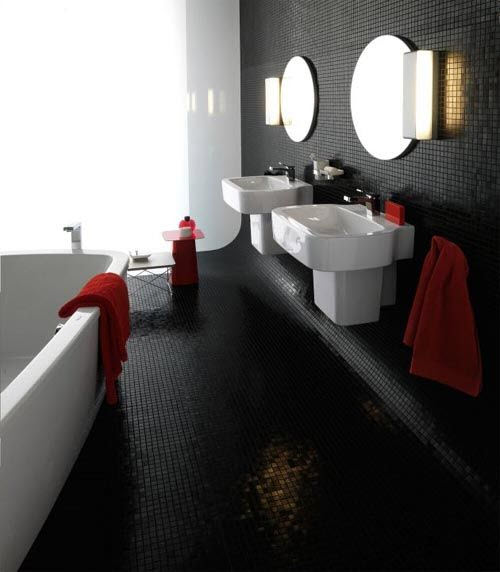 Wonderful Modern Bathroom With Black Red And White Tiles Stock Photography