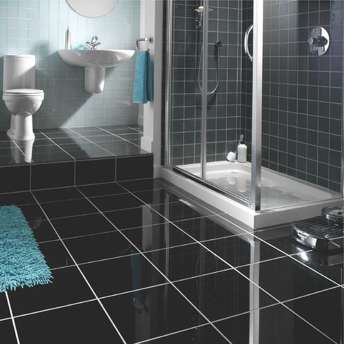23 black sparkle bathroom floor tiles ideas and pictures for Granite and tile bathroom ideas