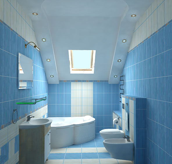 36 Blue And White Bathroom Floor Tile Ideas Pictures